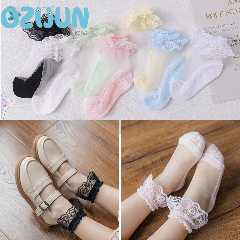 5 Pairs Socks Girls Summer Breathable Ultra Thin Cotton Short Invisible Crystal