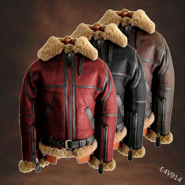 WEPBEL Winter Men's PU Leather Jacket Mens Fleece Fur Collar Motorcycle Jackets Casual Outdoor Thermal Leather Coats 1