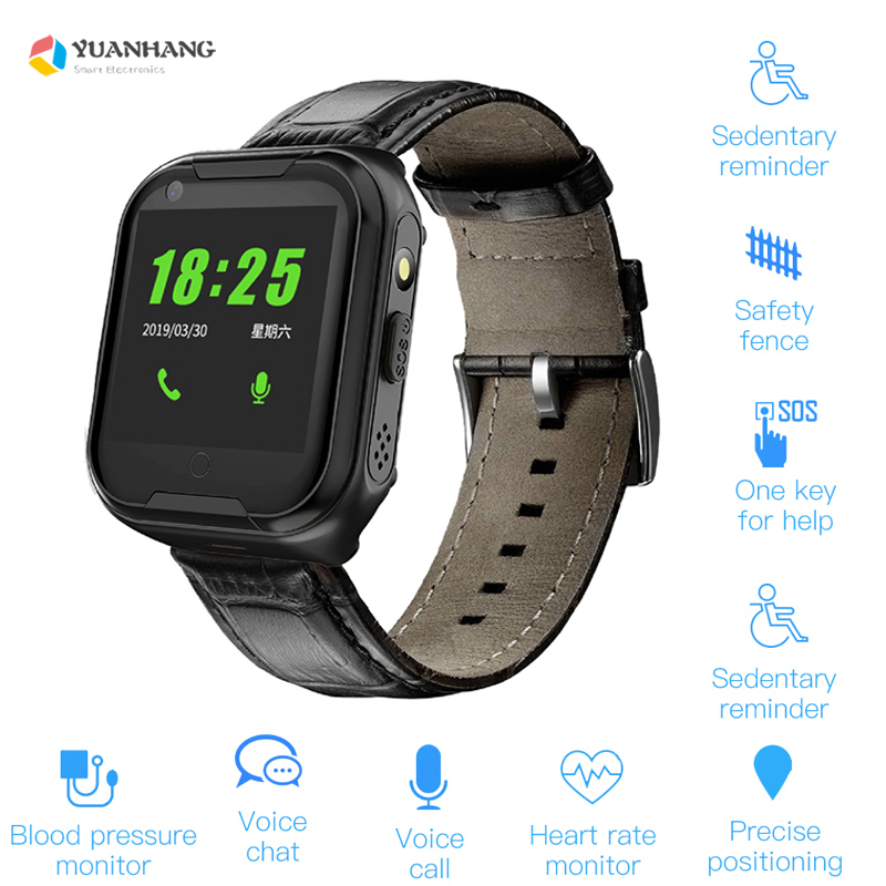 Smart 4G Video Call Watch Elderly Old Man Heart Rate Blood Pressure Monitor GPS WIFI Trace Locate Camera SOS Phone <font><b>Smartwatch</b></font> image