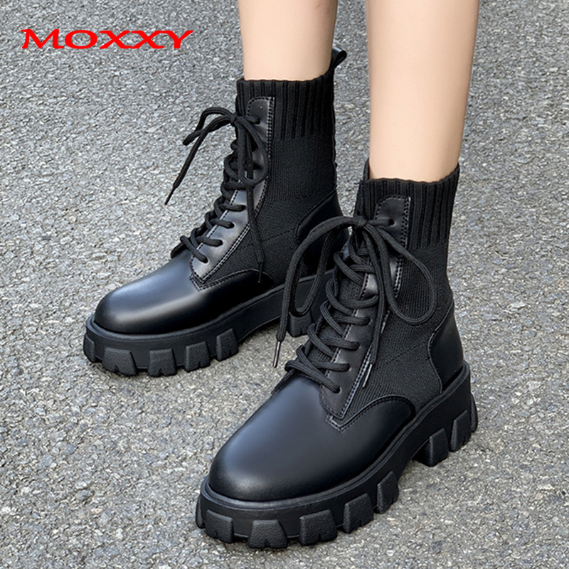 2019 New Army Combat Boots Women Lace Up Gothic Black Sock Platform Boots Leather Ankle Boots Women Shoes Fashion Botas Mujer