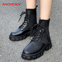 2020 New Combat Women Winter Boots Lace Up Gothic Black Sock Platform Boots Leather Ankle Boots Women Shoes Fashion Botas Mujer