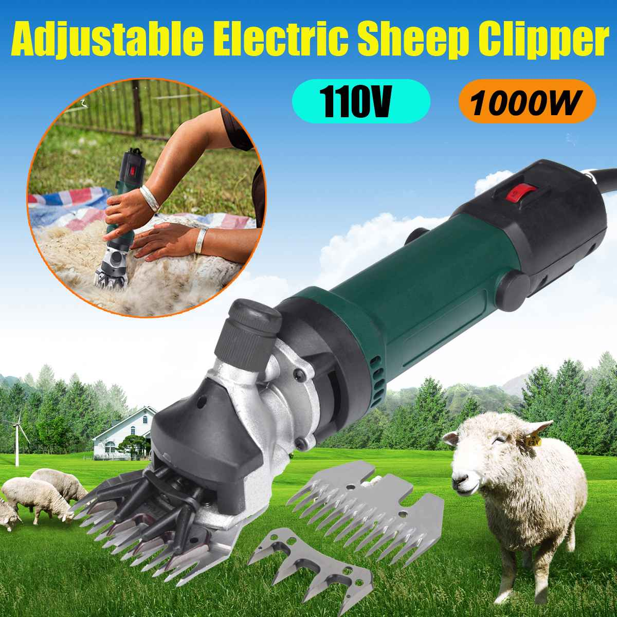 700W 110/220V Electric Sheep Goat Clipper Groomer Shaver Adjustable 6 Speed Shearing Machine
