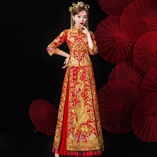 Bride Cheongsam Gown Traditional Long Sleeve Chinese long Dress Qipao Pink Oriental Style Dresses Women Multicolor Embroidery 2019 chinese traditional dress qipao women mandarin collar chinese cheongsams qipao oriental dresses embroidery qipao