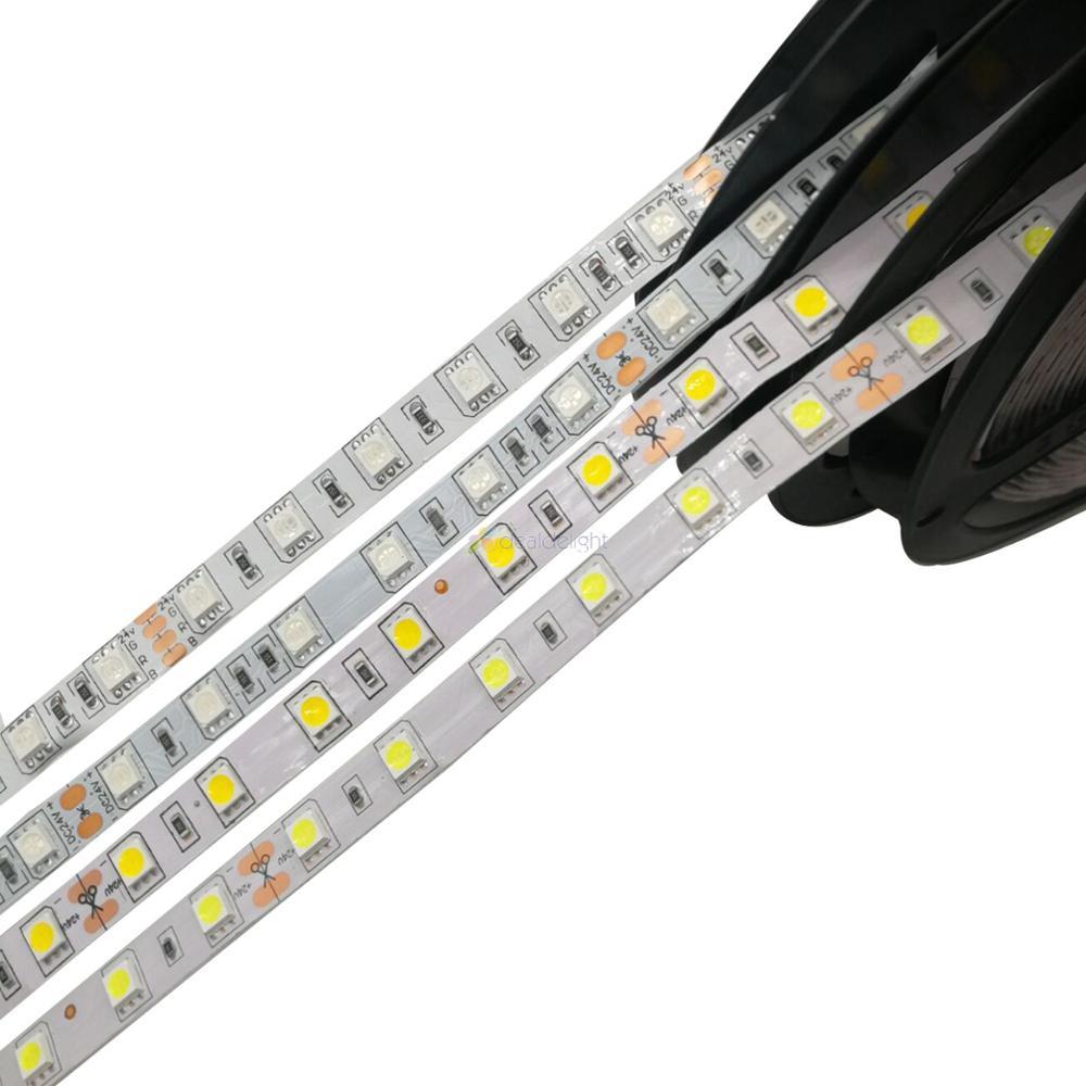 Tira led de 24v 5050 smd 60leds/m 5 m/lote, luz de led flexível à prova d'água ip20/ip65/ip67, rgb branco quente