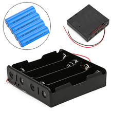 5 Pcs 4x18650 Rechargeable Battery 3.7V Clip Holder Box Case With Wire Lead
