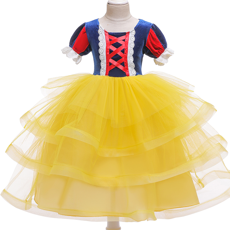 H19b1dbac12494687be556c0b1ec8959dJ 4-10T Fancy Princess Dress Baby Girl Clothes Kids Halloween Party Cosplay Costume Children Elsa Anna Dress vestidos infantil