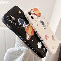 Nette Astronaut Cartoon Silikon Fall Für iPhone 12 Mini 11 Pro X XR XS Max Raum Rakete Stoßfänger Auf SE2 7 8 Plus Schutz Deckt