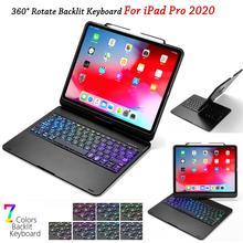 Capa com teclado para ipad pro, capa 12.9, 11 e 2020, 7 cores, com rotação, teclado bluetooth, para tablet, ipad pro 12 9 caixa do teclado