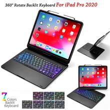 For iPad Pro 12.9 11 2020 Case with Keyboard 7 Color Backlit Rotate Bluetooth Keyboard For Tablet iPad Pro 12 9 Keyboard Case