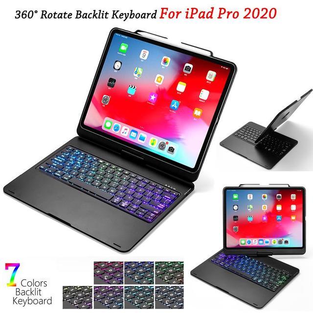 IPad Pro 12.9 için 11 2020 için klavye ile 7 renk arkadan aydınlatmalı için Bluetooth klavye döndürmek Tablet iPad Pro 12 9 klavye durumda