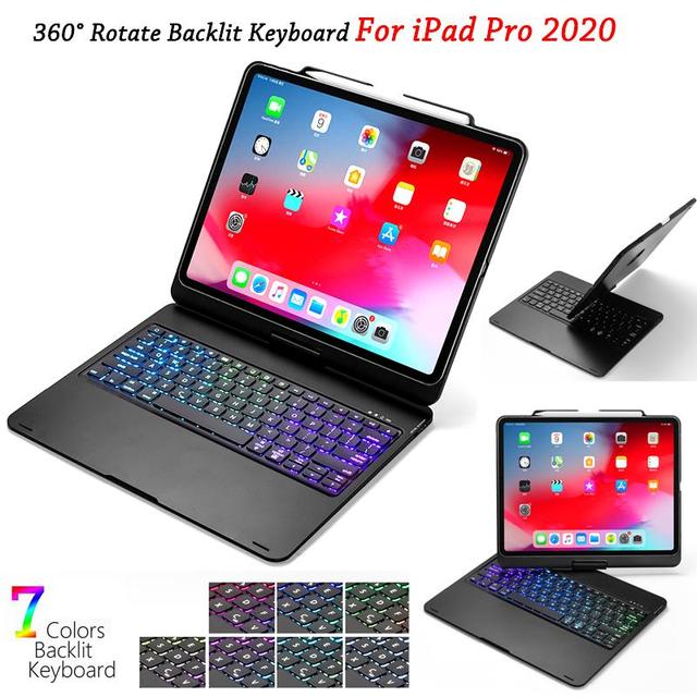 Ipadのプロ 12.9 11 2020 ケースとキーボード 7 色バックライト回転bluetoothキーボードタブレットipadプロ 12 9 キーボードケース