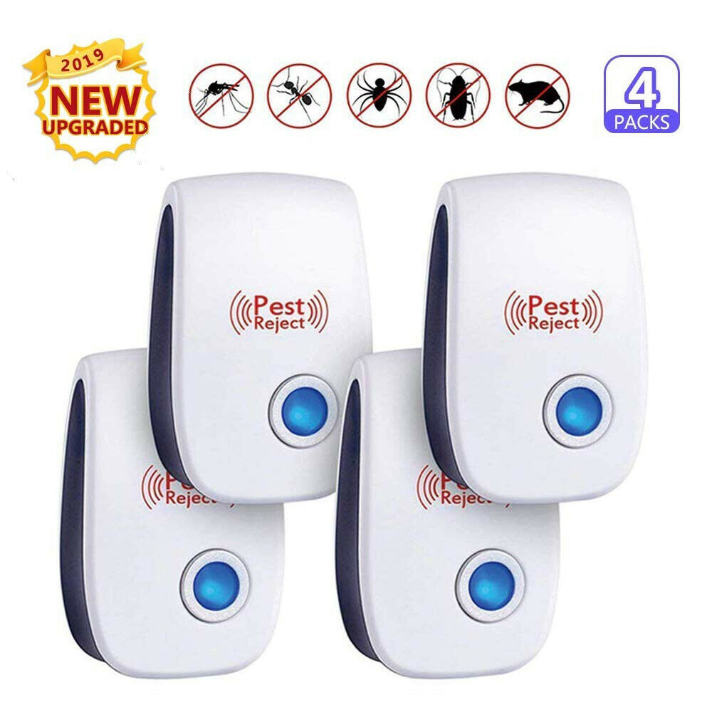 4PCS Electric Ultrasonic Pest Repeller Reject Killer Mosquito Mice Roach Insect