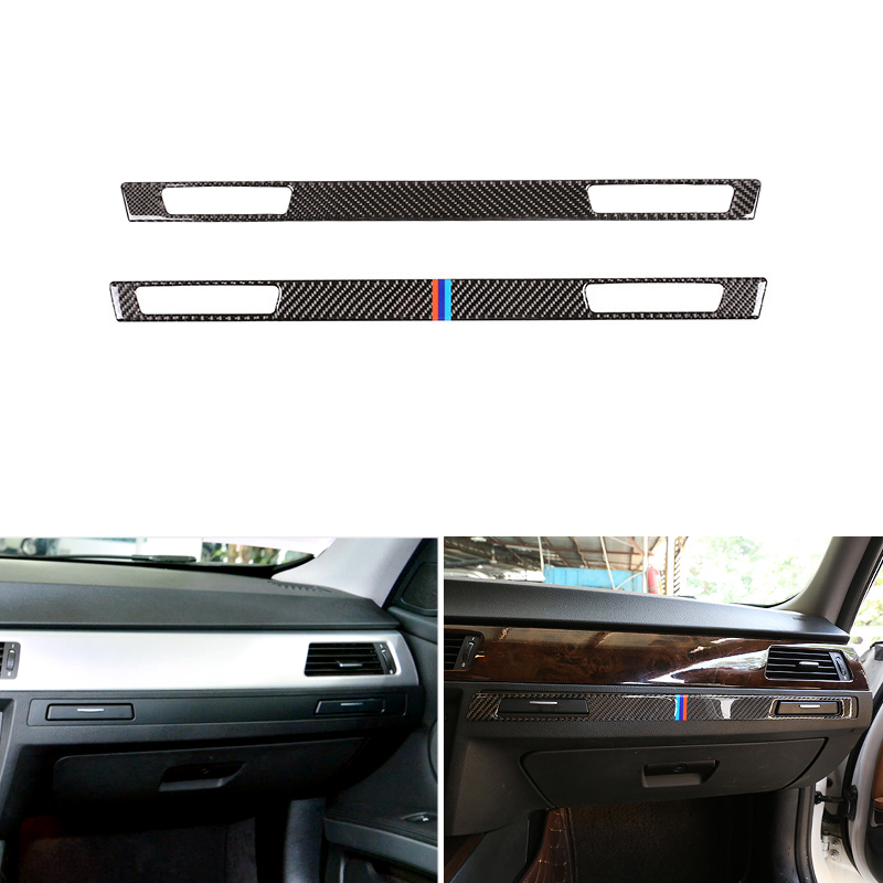 Real Carbon Fiber Center Control Copilot Water Cup Holder Panel Cover Trim For BMW E90 E92 E93 2005 2006 - 2009 2010 2011 2012