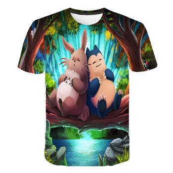 2020 Totoro dzieci t-shirt lato 3D dziecko Pokemon dziewczyny ubrania Ghibli koszulki Hayao Miyazaki Cute Cartoon Anime T shirt topy tanie i dobre opinie PINSHUN spandex Nowość W stylu rysunkowym krótkie Z okrągłym kołnierzykiem tops Z KRÓTKIM RĘKAWEM Dobrze pasuje do rozmiaru wybierz swój normalny rozmiar