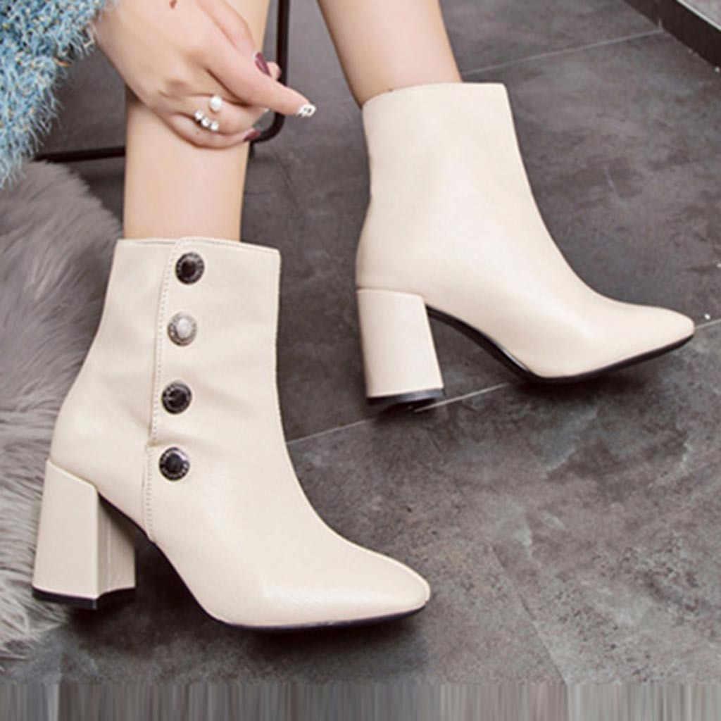 KANCOOLD ayakkabı kadın yüksek topuk Sıcak Fretwork Topuklar Kışlık botlar kadın Retro Buckles Kısa Peluş İç Ayakkabı Botları kadın 2019