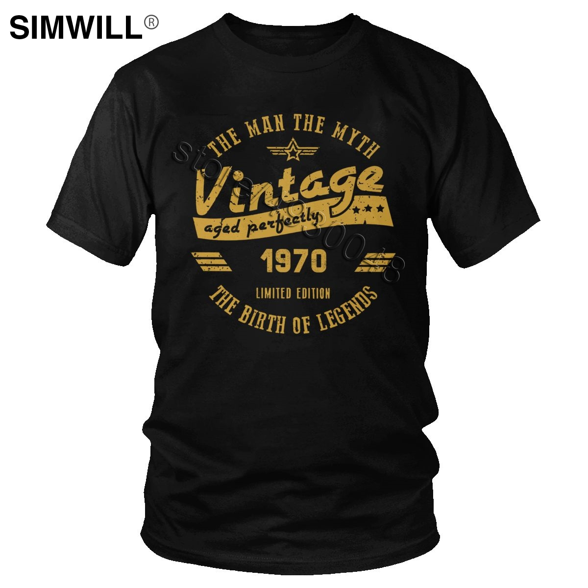 Vintage The Birth Of Legend 1970 T Shirt Short Sleeved The Man The Myth T-shirt 50th Birthday Gift Tshirt 50 Years Old Tee Tops