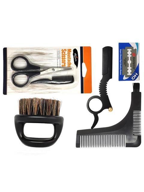 Men's Shaving Template Shaving Brush Beard Styling Comb Grooming Plate Manual Vintage Blade Holder Razor Beard Cleaning Brush 2