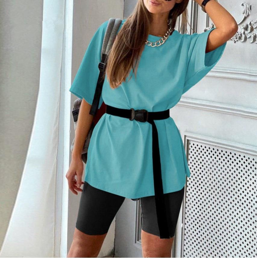 Женский комплект из 2 предметов, футболка с рукавом 1/2 + велосипедные шорты, белый/желтый/фиолетовый/черный/зеленый/синий комплект для отдыха...