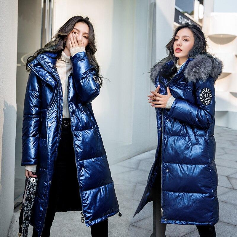 Корейская Зимняя парка, пальто, глянцевая куртка для женщин, пуховики, хлопковые куртки, длинные, с капюшоном, утолщенные, с заплатками, диза