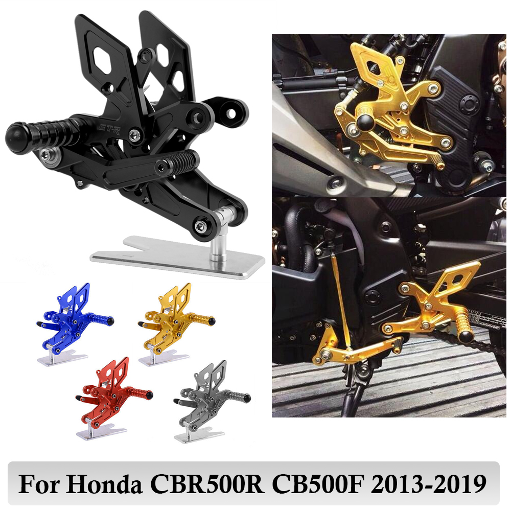 For Honda CB500F CBR500R 2013 2014 2015 2016 2017 2018 <font><b>2019</b></font> Motorcycle Adjustable Rearset Footrest Pegs Rear Sets <font><b>CBR</b></font> <font><b>500R</b></font> Parts image