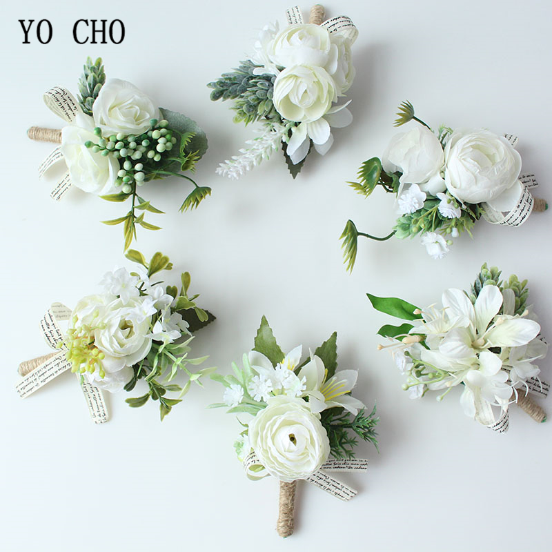 YO CHO Men Boutonniere Buttonhole Rose Brooch Bride Wedding Wrist Corsage Bracelet Groom Ceremony Flower Party Meeting Decor