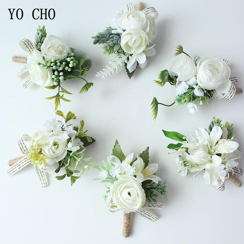 YO CHO Men Boutonniere Buttonhole Rose Brooch Bride Wedding Wrist Corsage Bracelet Groom Ceremony Flower Party Meeting Decor