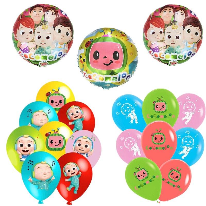 Cocomelon tema balão de alumínio decoração de aniversário látex balão festa suprimentos meninos chuveiro do bebê crianças brinquedo