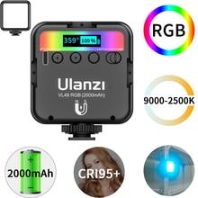 Ulanzi-miniluz de relleno magnética VL49, luz LED RGB a todo Color para vídeo, 2500K-9000K, 800LUX, extensión de 3 zapatas frías, 2000mAh, Puerto tipo c