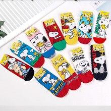2019 Spring Autumn New Korean Import Fashion Animation Cartoon SNOOPY Ms. Shorts Christmas gifts for women cute socks kawaii