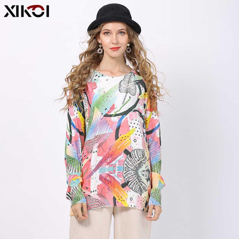 XIKOI ผู้หญิงถักพิมพ์เสื้อแขนยาวหลวมถักเสื้อกันหนาวสุภาพสตรี Tops Pullover ฤดูหนาวถักขนาดใหญ่ดึง