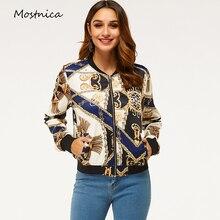 Mostnica Vintage Chain Printed Zipper Up Bomber Jacket Women Spring Long Sleeves
