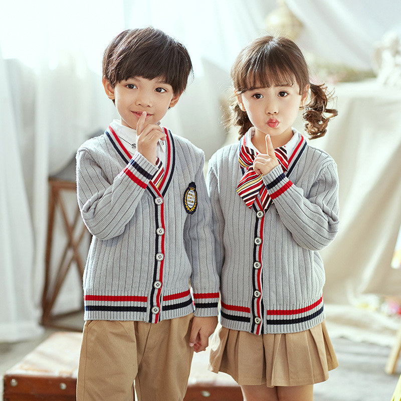 2019 Spring New Style Children British-Style School Uniform Primary School STUDENT'S Knitted Cardigan School Uniform Set Clothes