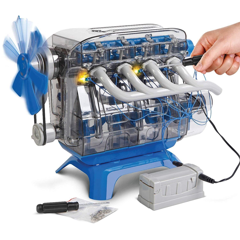 Mindblown Model Motor Engine Kit Stem Discovery moving parts led lights science experiments toy car four-cylinder engine model
