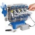 Mindblown modelo de motor, kit de motor com haste, peças de movimento descobertas, luzes led, experiências, brinquedo, carro, modelo de motor de quatro cilindros