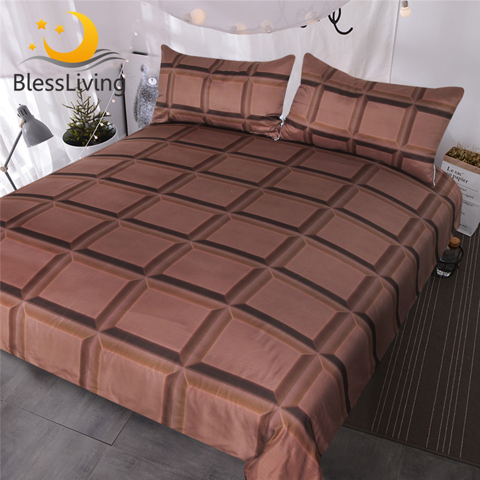 Us 27 84 45 Off Blessliving Chocolate Bar Bedding 3 Piece Super Soft Funny Bed Sets 3d Realistic Giant Chocolate Duvet Cover For Boys Girls In