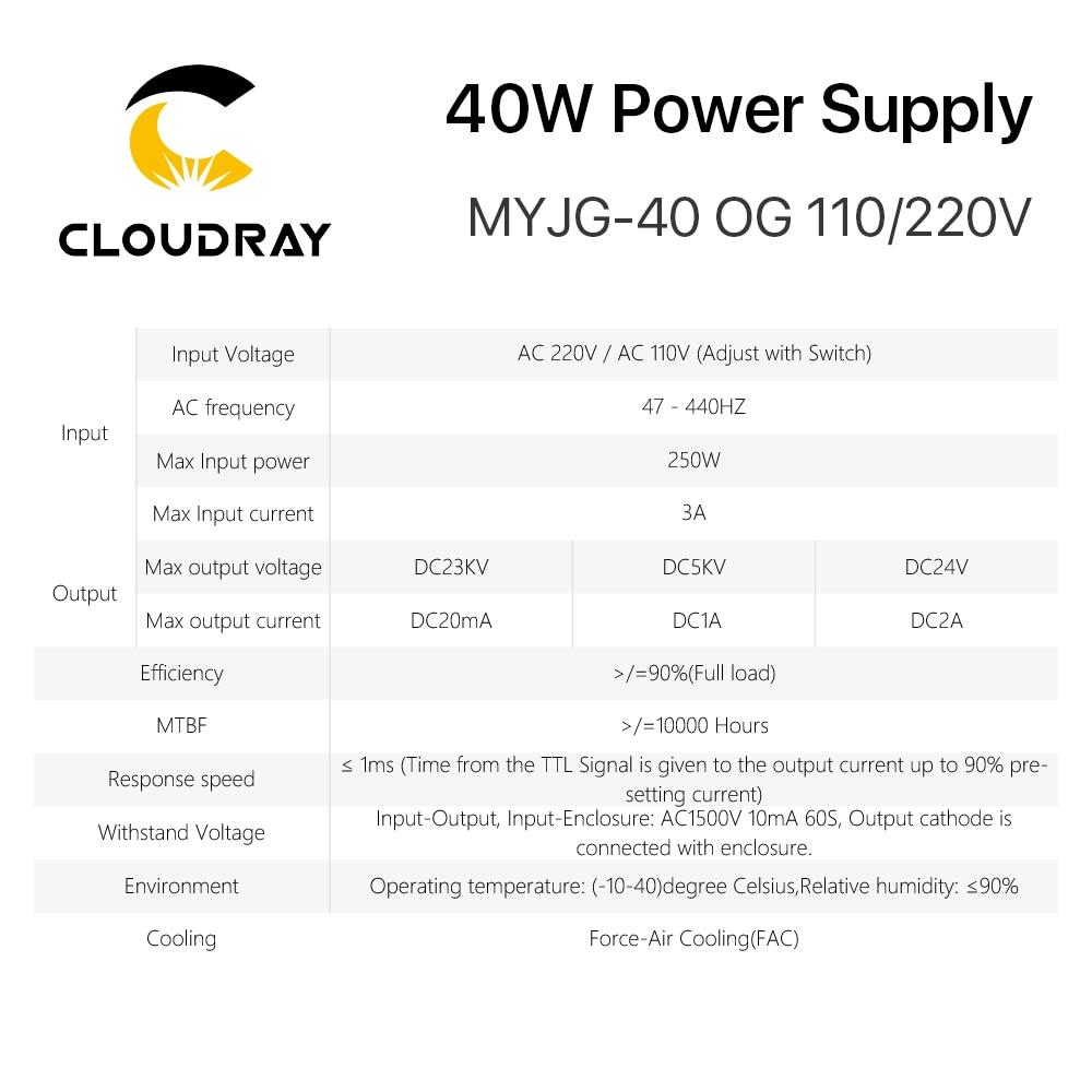 Zasilacz laserowy Cloudray 40 W CO2 MYJG 40WT 110 V / 220 V do - Części maszyn do obróbki drewna - Zdjęcie 6