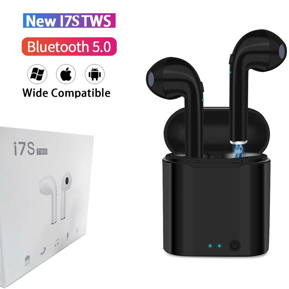 I7s Tws Black Bluetooth Earphones Wireless Earbuds Sport Handsfree Earphone Cordless Headset With Retail Box For Xiaomi IPhone