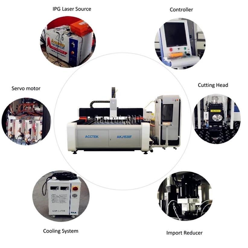 Высокая точность 2000 Вт волоконное лазерное оборудование для лазерной резки металлического листа AKJ1530F