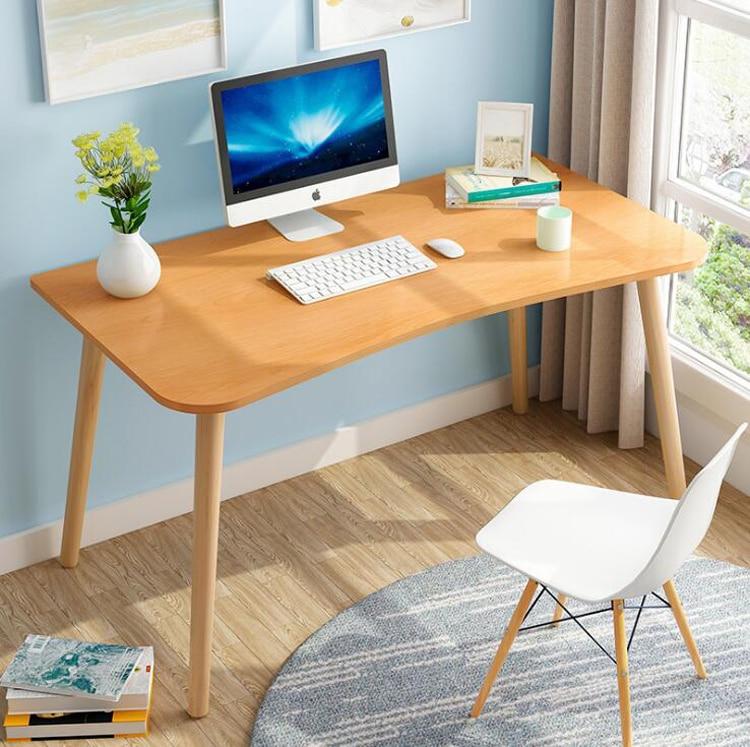 Modern Desk Home Computer Desk Desktop Notebook Student Writing Desk Office Bedroom Solid Wood Leg Table