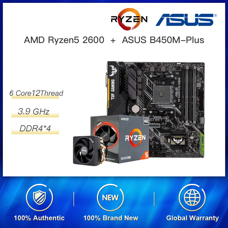 For New Kit AMD Ryzen R5 2600 3.6 GHz 6-Core 12-Thread CPU Process <font><b>ASUS</b></font> TUF <font><b>B450M</b></font>-PRO <font><b>GAMING</b></font> Motherboard Socket AM4 DDR4 image