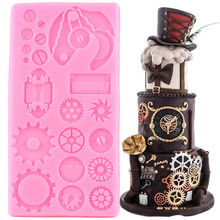 3D Gear Cake Border Silicone Mold Steampunk Fondant Cake Decorating Tools Cupcake Topper Candy Clay Resin Moulds Chocolate Mould