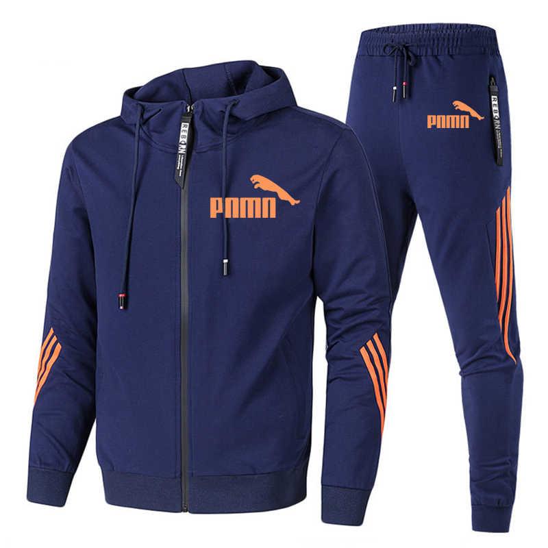 Lente Herfst 2020 Mannen Zweet Pak Set Gestreepte Trainingspak Mannen Outfit Volledige Mouw Tops Met Kap Outdoor Sport Wear Mannen 2 Delige Set