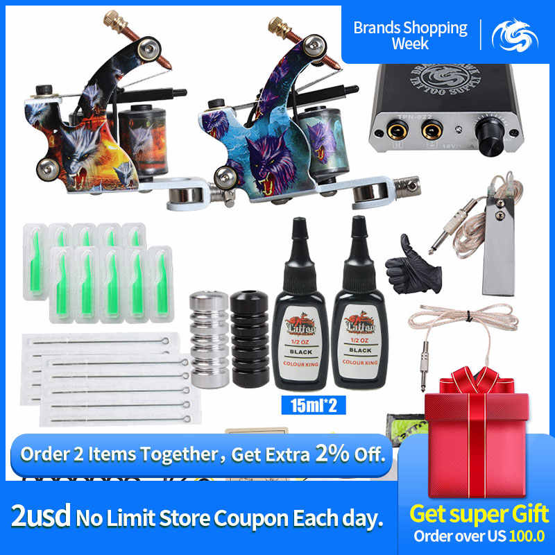Complete Beginner Tattoo Kit Mini Tattoo Voeding Goedkope Tattoo Kit Set Grips Naalden Tips Supplies