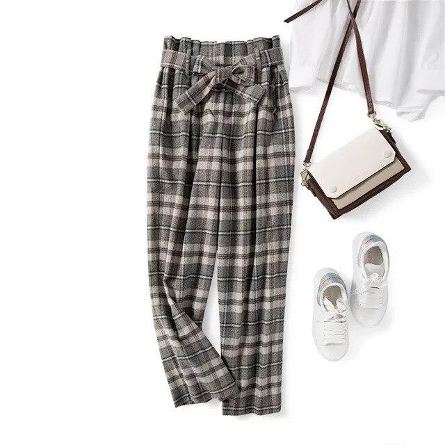 2019 automne et hiver nouveau Plaid large jambe laine hiver pantalon femmes