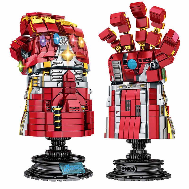 Marvel Super Heroes Avengers 4 Endgame Arma Thanos Infinity Gauntlet Mjolnir Stormbreaker Legoed Blocchi per I Bambini Giocattoli Regalo