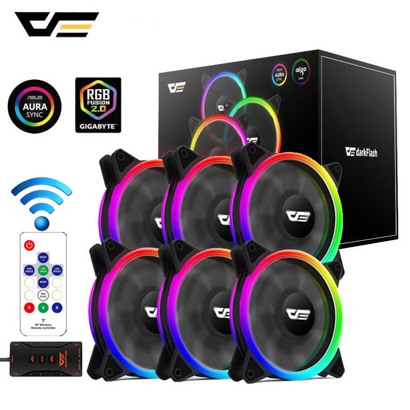 Darkflash DR12 Pro Pc Case Rgb Fan 120Mm Aura Sync 5V/3pin Quiet Cpu Cooler Fan Pc case Fan Rgb Controller 6 Pin Cpu Radiator