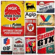 Vintage GTX TEXACO NGK carteles de Metal garaje reglas de aceite de Gas Bar rústico Pin up Placa de póster decoración de la pared del Pub