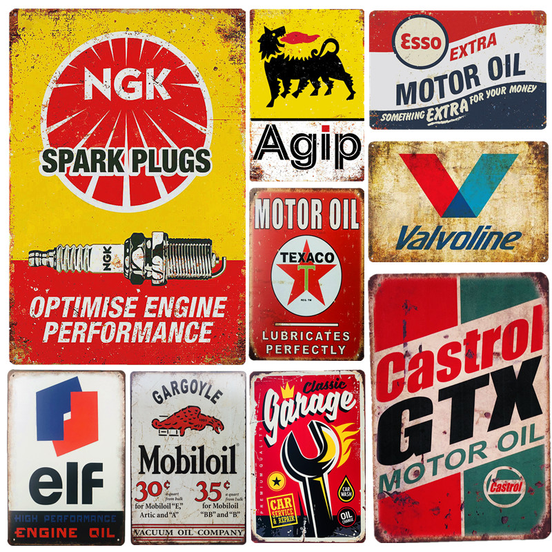 Vintage Metal Tin Signs Garage Rules Gas Oil Bar Rustic Pin Up Poster Plaque Pub Wall Decor