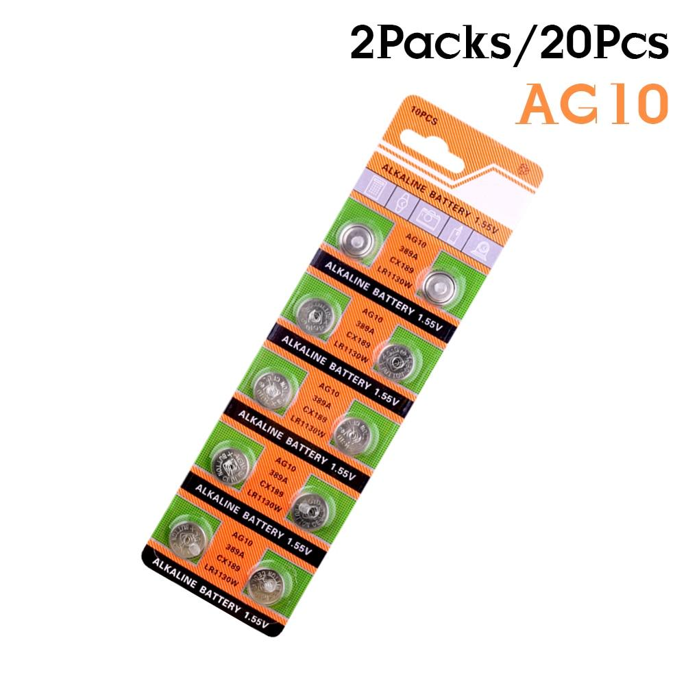 2019 Promotion New 20Pcs 1.55V AG10 AG 10 SR1130 GP89A Watch Pilas Button Alkaline Cell  L1131 LR1130 LR54 Coin Celula Battery