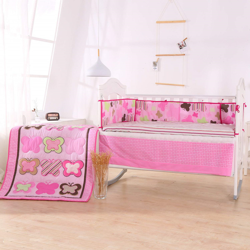 7pcs Embroidery Cartoon Baby Bedding Set De Cuna Cotton Bed Protector Bed Bumper (4bumpers+duvet+bed Cover+bed Skirt)